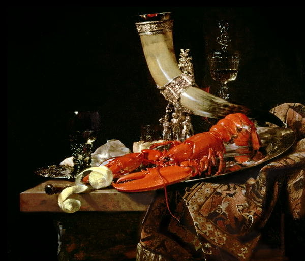 still life with drinking horn of st Still life with lobster, drinking horn and glasses is a 1653 painting by dutch  artist willem kalf  the calling of saint matthew (1599–1600), by caravaggio.